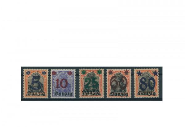 Briefmarken Deutsches Reich Einzelausgaben Danzig 1920-1939 Michel-Nr. 16-20 gestempelt
