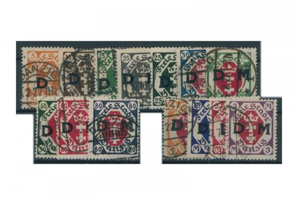 Briefmarken Deutsches Reich Danzig Dienstmarken 1921-1924 Michel-Nr. D 1-14 gestempelt