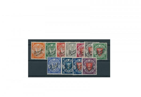 Briefmarke Deutsches Reich Freie Stadt Danzig Dienstmarken 1924-1925 Michel-Nr. 41/51 gestempelt