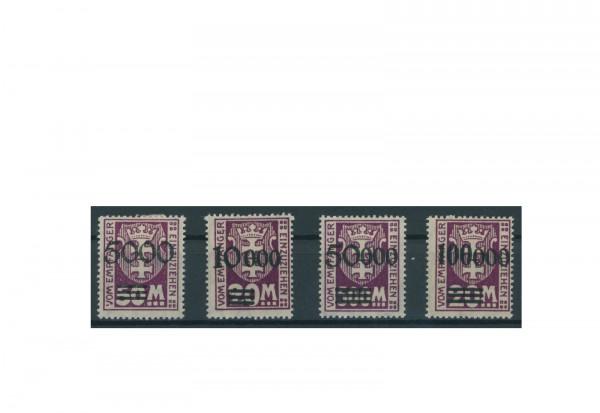 Briefmarken Deutsches Reich Freie Stadt Danzig 1921-1938 Michel-Nr. P 26-29 gestempelt