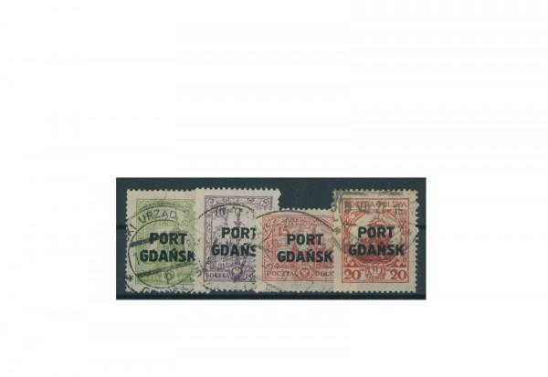 Briefmarke Deutsches Reich Freie Stadt Danzig Port Gdansk 1925/1929 Michel-Nr. 15/18 gestempelt