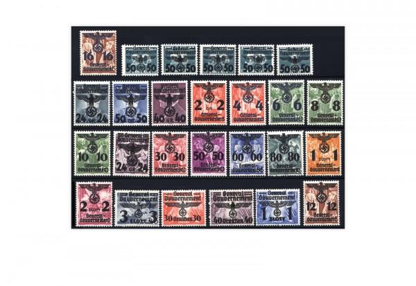 Briefmarken Generalgouvernement 1940 Michel Nr. 14- 38 Reichsadler- und Hakenkreuzüberdrucke Postfri