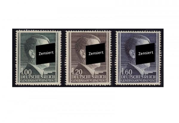 Generalgouvernement Freimarken: Adolf Hitler 1942 Michel Nr. 86/88 B postfrisch