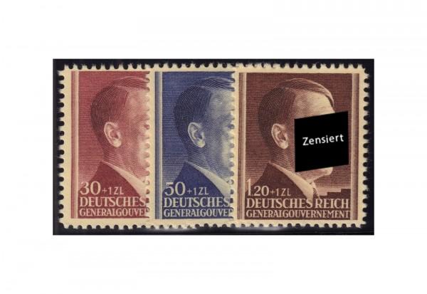Generalgouvernement Freimarken: 53. Geburtstag von Adolf Hitler 1942 Michel Nr. 89/91 postfrisch