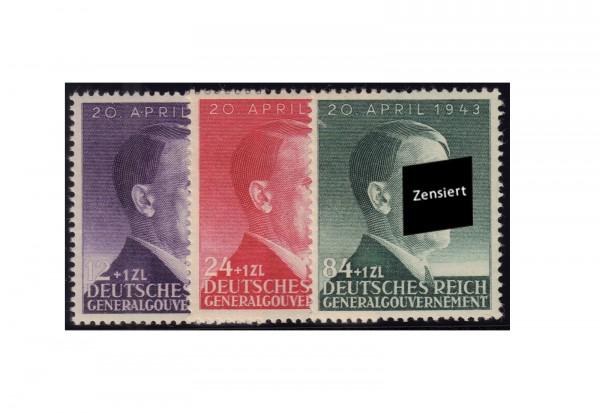 Generalgouvernement Marken 1943: 54. Geburtstag von Adolf Hitler Michel Nr. 101/3 postfrisch