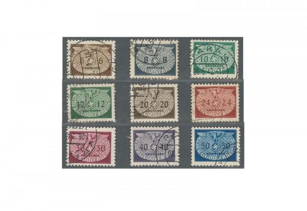 Generalgouvernement Dienstmarken 1940 Michel Nr. 16/24 gestempelt