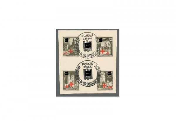 Generalgouvernement 1940: Rotes Kreuz Michel Nr. 52/55 gestempelt