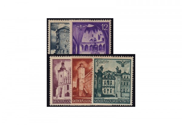 Genralgouvernement Freimarken 1941: Bauwerke Michel Nr. 66/70 gestempelt