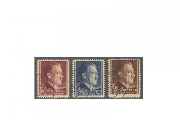 Genralgouvernement 1942: 53. Geburtstag von Adolf Hitler Michel Nr. 89/91 gestempelt