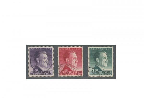 Generalgouvernement 1943: 54. Geburtstag von Adolf Hitler Michel Nr. 101/103 gestempelt