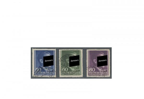 Generalgouvernement Freimarken 1943: Adolf Hitler Michel Nr. 110/112 gestempelt