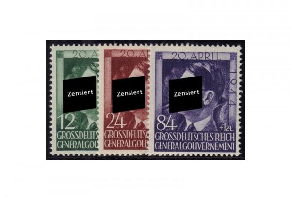 Generalgouvernement 1944: 55. Geburtstag von Adolf Hitler Michel Nr. 117/119 gestempelt