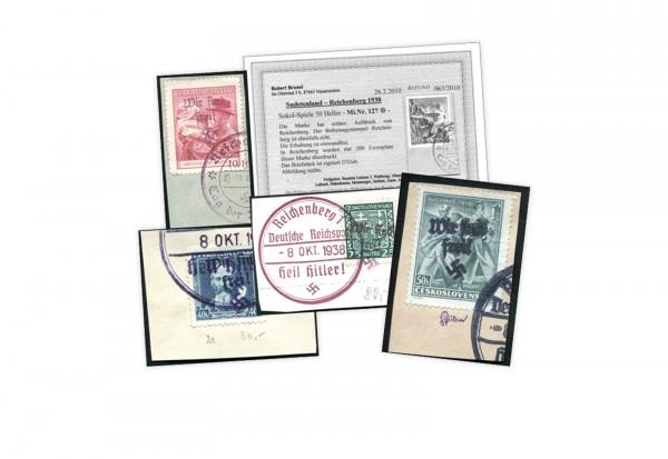 Sudetenland/Reichenberg Mi.Nr. 127+130 gest. auf Briefstücken geprüft/Befund