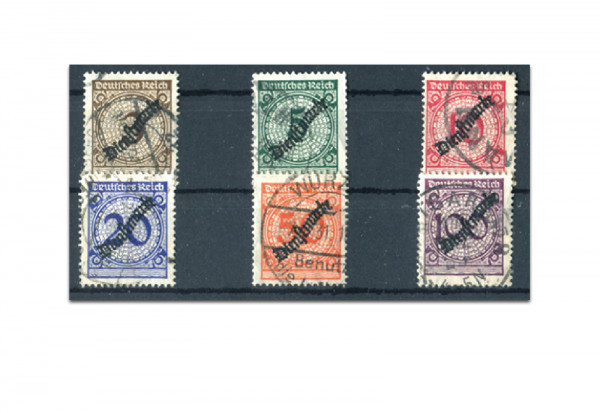 Deutsches Reich Dienstmarken 99/104 gestempelt - Korbdeckel-Ausgabe 1923
