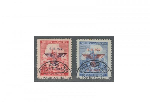 Briefmarken Böhmen und Mähren Errichtung Protektorates Michel-Nr. 83/84 gestempelt