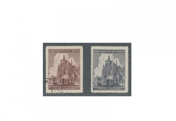 Böhmen und Mähren 600 Jahre Dom zu Prag Michel Nr. 140 bis 141 gestempelt