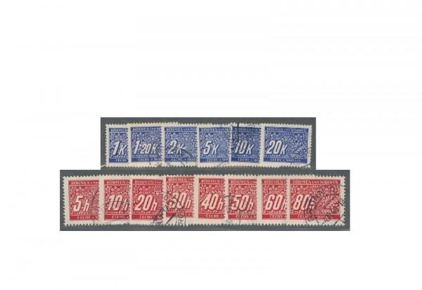 Briefmakren Böhmen und Mähren Portomarken Michel Nr. P 1 - P 14 gestempelt