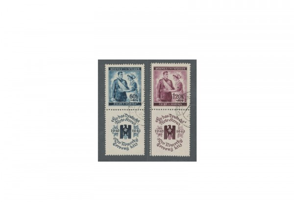 Briefmarken Böhmen und Mähren Michel Nr. 53 - 54 Zf gestempelt