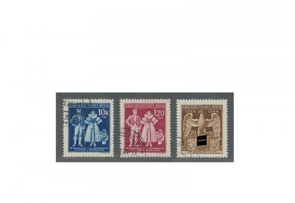 Briefmarken Böhmen und Mähren Errichtung Protektorat Michel-Nr. 133 bis 135 gestempelt