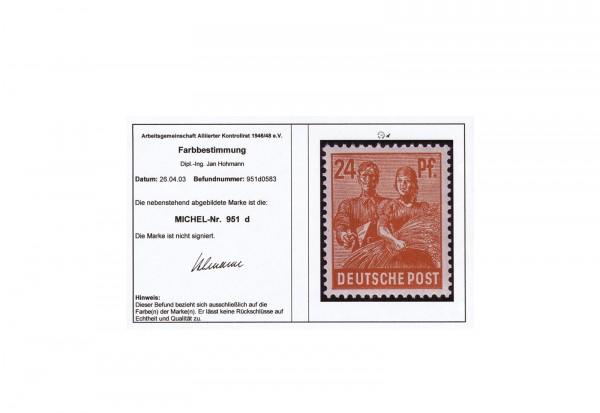 Kontrollrat II 951 d postfrisch mit Befund