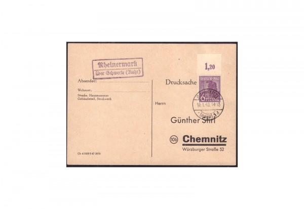 Briefmarke Alliierte Besetzung 2. Kontrollratsausgabe 1947 Michel Nr. 944 P OR ndgz auf Postkarte