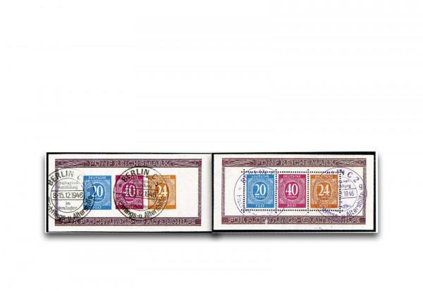 Alliierte Besatzung Briefmarkenausstellung Blocks 12 A/B gestempelt und geprüft BPP