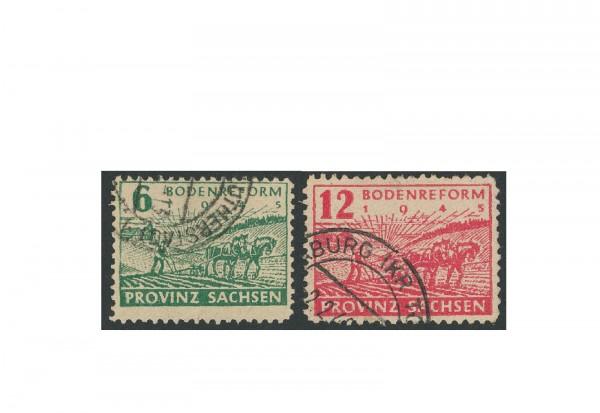 Briefmarken SBZ Bodenreform 1945 Michel-Nr. 85/86 WaA gestempelt geprüft