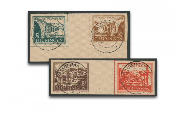 Briefmarken SBZ Wiederaufbau 1946 Michel-Nr. Wzd 1+2 gestempelt