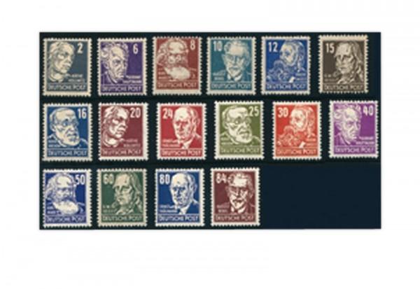 Briefmarken SBZ Berühmte Persönlichkeiten 1948 Michel-Nr. 212-27 gestempelt