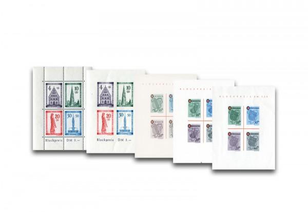 Briefmarken Blockausgaben Französische Zone 1949 postfrisch und Falz