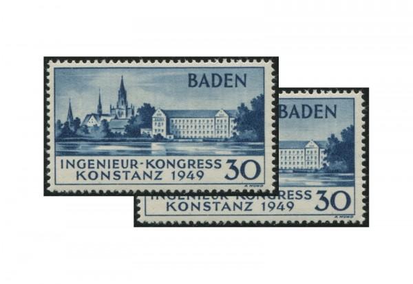 Baden Ingenieur-Kongress 1949 Mi.Nr. 46 II postfrisch plus gratis 46 I postfrisch