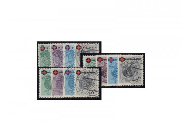 Französische Zone Michel-Nr. 42/45 Deutsches Rotes Kreuz 1949 gestempelt