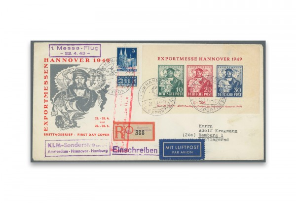 Briefmarken Bizone Exportmesse 1949 Block 1 FDC gestempelt
