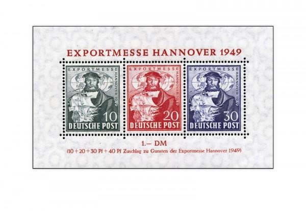 Bizone Block 1 a postfrisch Exportmesse Hannover