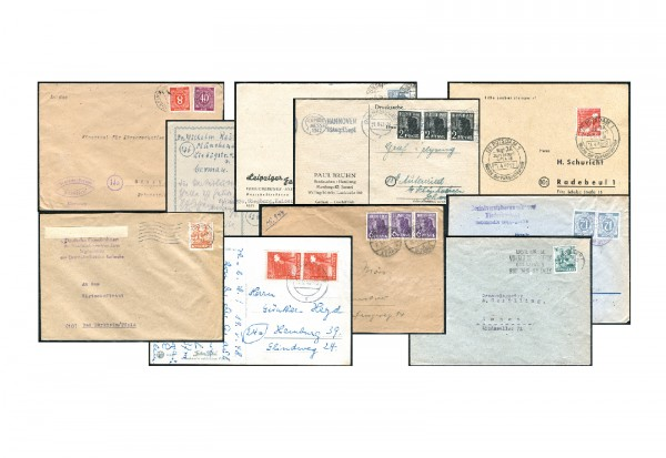 Alliierte Besetzung- Gemeinschaftsausgaben 1945/9 10 verschiedene Karten /Briefe