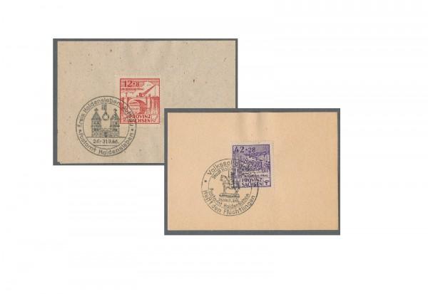 Briefmarken SBZ Provinz Sachsen Wiederaufbau 1946 Michel-Nr. 88 VII + 89 VIII gestempelt