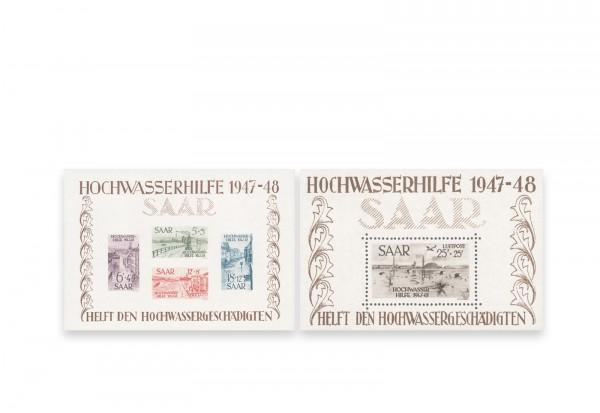 Briefmarken Saarland Hochwasserhilfe 1948 Michel-Nr. Block 1-2 Falz