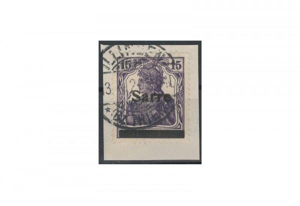 Briefmarken Deutsches Reich Germania Sarre Pflaumenblau 1920 Michel-Nr. 7 c I gestempelt geprüft