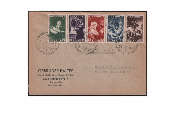 Saar Mi.Nr. 309/313 auf FDC Volkshilfe 1951