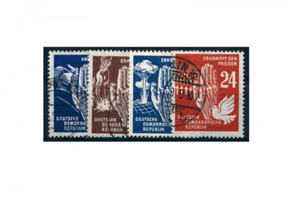 Briefmarken DDR Erkämpft den Frieden 1950 Michel-Nr. 276-279 gestempelt