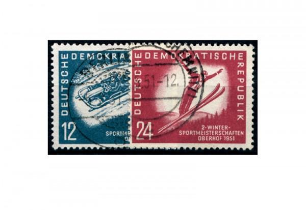 Briefmarken DDR Wintersportmeisterschaften in Oberhof 1951 Michel-Nr. 280-281 gestempelt