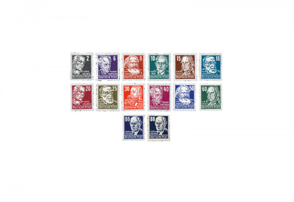 Briefmarken DDR Persönlichkeiten aus Politik, Kunst und Wissenschaft 1952-1953 Michel-Nr. 327-341 ge