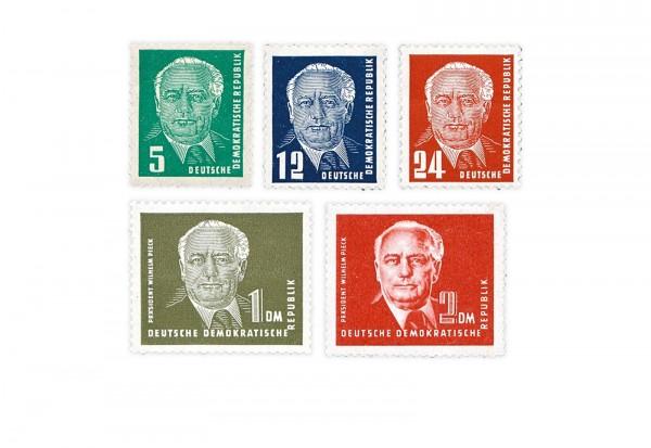 Briefmarken DDR Präsident Wilhelm Pieck (II) 1952-1953 Michel-Nr. 322-326 postfrisch