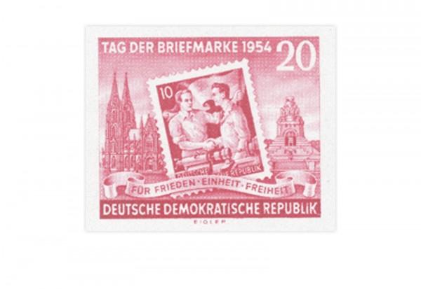 Briefmarke DDR Block Erste Zentrale Briefmarkenausstellung 1954 Michel-Nr. 445 B postfrisch