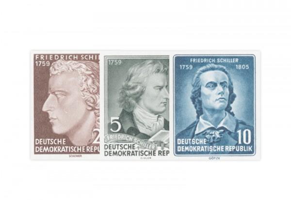 Briefmarken DDR Block 150. Todestag von Friedrich Schiller 1955 Michel-Nr. 464-466 postfrisch
