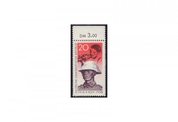 DDR Freimarke 1958 40.Jahrestag der Novemberrevolution in Deutschland Michel Nr. 662 OR postfrisch