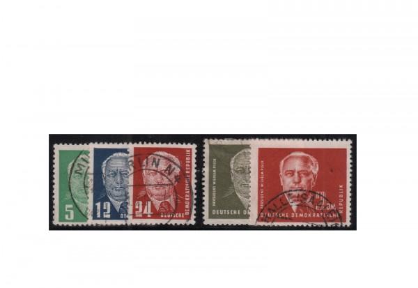 Briefmarken DDR Präsident Wilhelm Pieck (II) 1952 Michel-Nr. 322-326 gestempelt