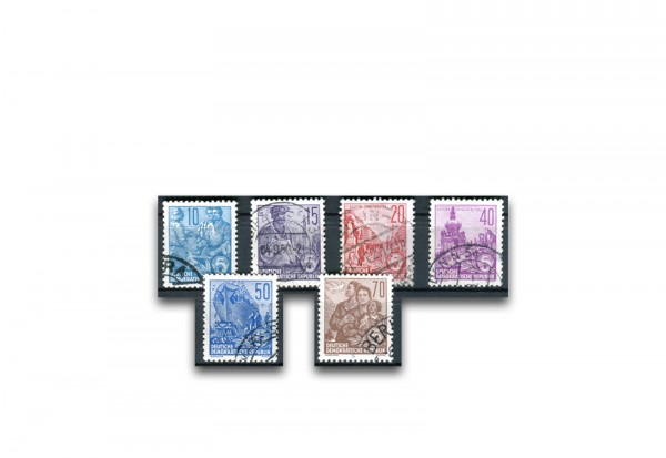 Briefmarken DDR Fünfjahrplan 1955 Michel-Nr. 453-458 gestempelt