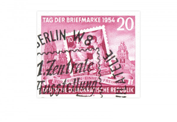 Briefmarke DDR Block Erste Zentrale Briefmarkenausstellung der Betriebsarbeitsgmeinschaften 1954 Mic