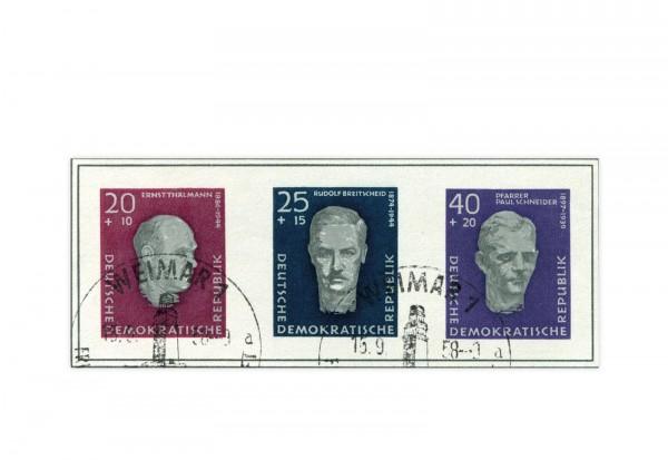 DDR Block 15 Einzelmarken 1958 Mi.Nr. 606/608 B gestempelt